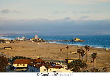 View of the Santa Monica Pier at sunset - vView of the Santa...