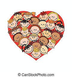 Cartoon baby faces in heart shaped frame vector face, love,...