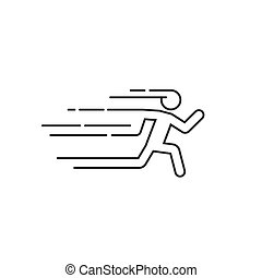 Running man vector illustration with motion blur track lines abstract