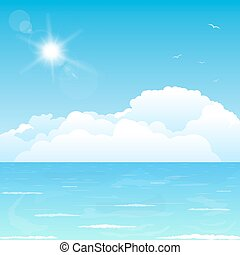 Clouds on ocean - Bright and big puffy clouds lying on the...