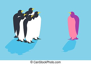 Penguins Animal from another pack Unusual bird Allegory...