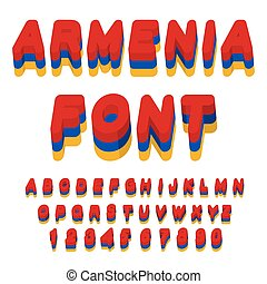 Armenia font. Armenian flag on letters. National Patriotic...