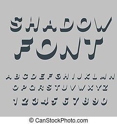 Shadow font Set of letters of drop shadow 3D letters of...