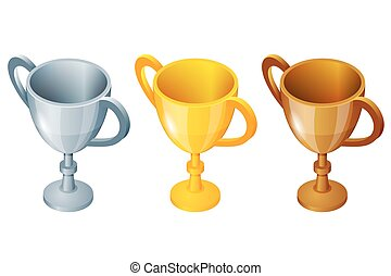 Winner cup set. Winner cup Vector gold, silver and bronze winner cup. Prize first third and second. Winner sport cup.