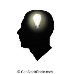Bulb Brain - Image of a light bulb inside of a man\'s head.