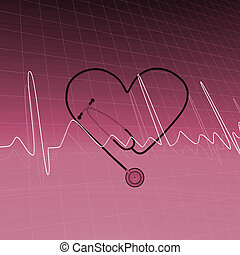 Medical Background - Image of stethoscope and ECG heart...