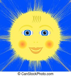 Smiling Yellow Sun Icon Isolated on Blue Background.