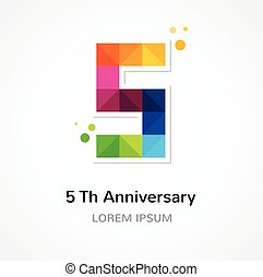 anniversary - abstract colorful icons and elements set -...