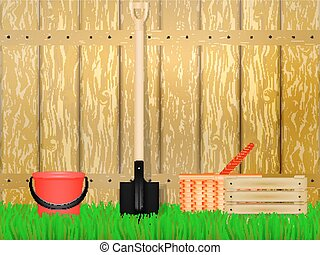 Vector illustration of a garden plot with a fence and farm...