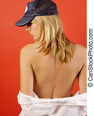 Caucasian Blond Woman With Bare Back White Shirt Down