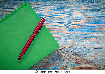 fechado, verde, caderno, biro, caneta, ligado, madeira,...