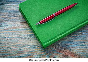 notepad, biro, caneta, ligado, vindima, madeira,...