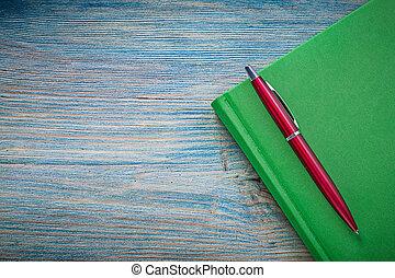 notepad, biro, caneta, ligado, madeira, tábua,...