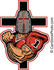 crusader football - muscular crusader football player mascot...