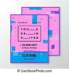 Night Party Club Invitation Card or Poster Template. Modern Abstract Flat Swiss Style Background with Decorative Stripes, Zig-Zags and Typography. Pink, Blue Colors. Soft Realistic Shadows.