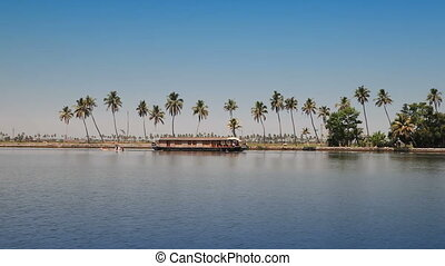 India. Houseboat on Kerala backwaters