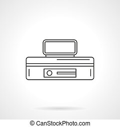 Safe case with lock flat line vector icon