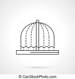 Fountains decor flat line vector icon - Arched flowing...