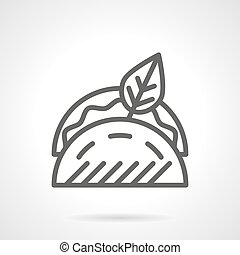 Tacos with leaf black line vector icon - Tacos with filling...