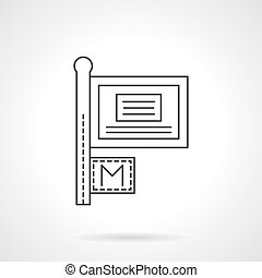 Information sign flat line vector icon - City signboard...