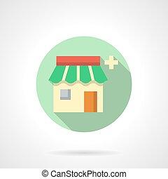 Drugstore flat color design vector icon