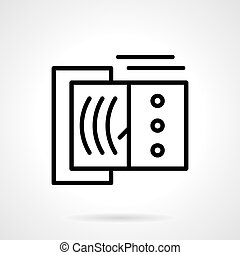 Devices tester black line vector icon - Tester with arrow on...