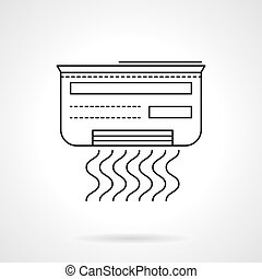 Air conditioner flat line vector icon - Air conditioner with...
