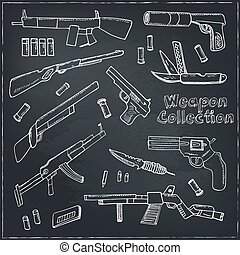 Hand drawn set  of Weapons.