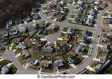 American Culdesac Aerial - Typical suburban culdesac in the...