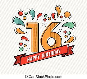 Colorful happy birthday number 16 flat line design - Happy...