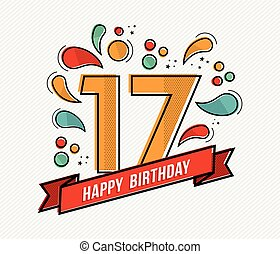 Colorful happy birthday number 17 flat line design - Happy...