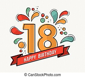 Colorful happy birthday number 18 flat line design - Happy...