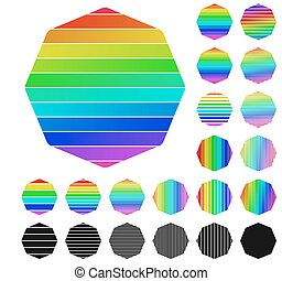 Set of rainbow octagon logo icons - Set of rainbow octagon...