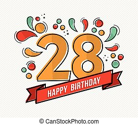 Colorful happy birthday number 28 flat line design