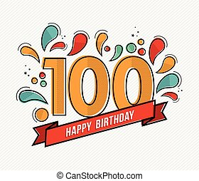 Color happy birthday number 100 flat line design - Happy...