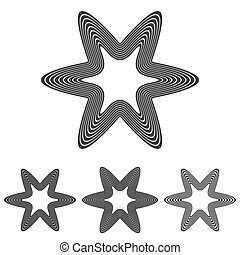Black line star logo design set - Black line star logo icon...