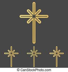 Golden line cross logo design set - Golden line cross icon...