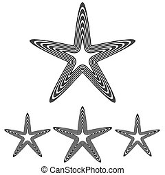 Line pentagram star logo design set - Line pentagram symbol...