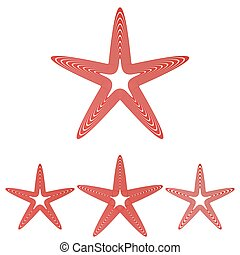 Red line star logo design set - Red line star symbol logo...