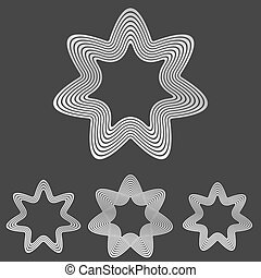Silver line star logo design set - Silver metallic line star...