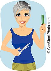 female hairdresser with a pair of scissors and a comb