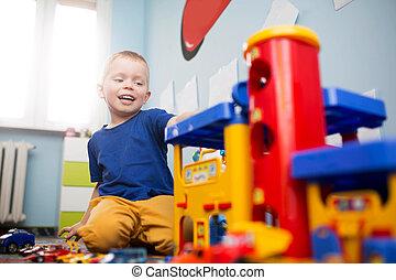 Menino, brinquedo,  car, parque, pequeno, tocando
