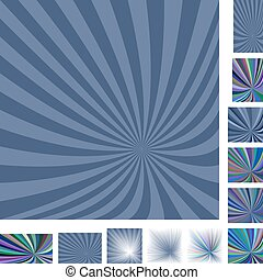 Retro grey ray burst background set - Retro grey vector ray...