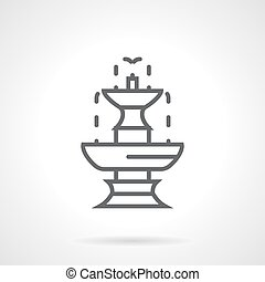 Classic fountain black line vector icon
