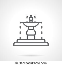 Garden fountain black line vector icon - Flowing fountain on...