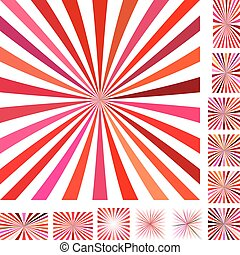 Red white ray burst background set - Red and white vector...