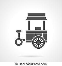 Street food trade cart glyph style vector icon - Monochrome...