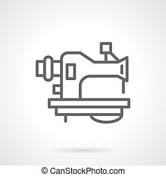 Old sewing machine black line vector icon