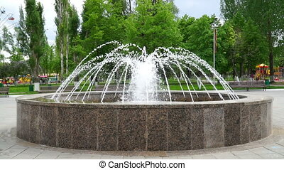 fountain in a park close-up. HD video