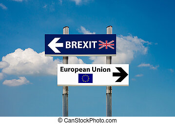 road signs EU and BREXIT - a road signs EU and BREXIT and a...